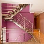 Escalier moderne demi tournant en inox avec marches en pierre (granit) à 75000 Paris EDI017