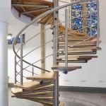 Escalier hélicoïdale en inox loft et marches en bois à Luxembourg EDI25