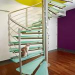 Escalier colimaçon inox et marche en verre à Metz en Lorraine EDI 001