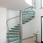 Escalier moderne inox et marche en verre opale à Reims EDI29