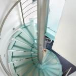 Escalier tournant inox et verre EDI30