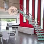 Escalier moderne inox limon central tournant et marche en verre brisé à Metz 57000 Moselle Lorraine EDI002