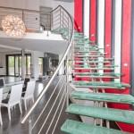 Escalier contemporain sur-mesure avec marches en verre brisé 57640 Rugy en Lorraine EDI40