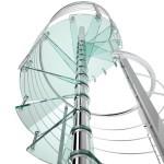 escalier colimacon design inox polis et marche verre DEI35