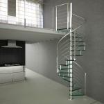 escalier colimacon design inox-polis chromé et marche verre EDI03