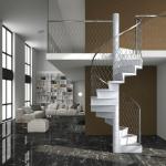 escalier contemporain en bois garde corps treilli inox EDI005