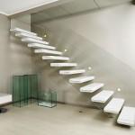 escalier design marches flotantes et rampe verre DEI016