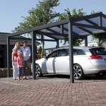 Abris de voiture en aluminium  thermolaqué , toiture polycarbonate A1