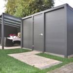 Fabrication de pergolas design semi-ouverte avec abris en lames d'aluminium thermolaqué à Metz dans le Grand Est P22