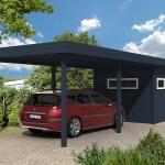 Carport avec abris de jardin intégré en aluminium A2