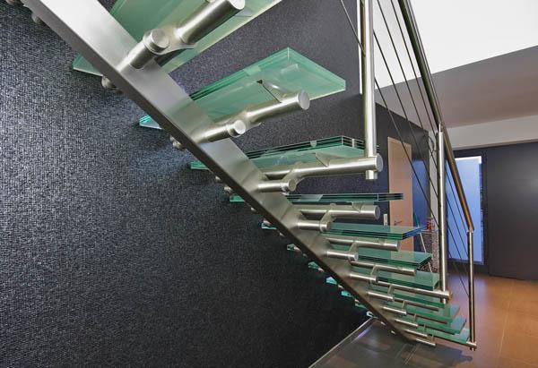 Escalier Design Inox Droit Marches Verre 59000 Lille Edi008
