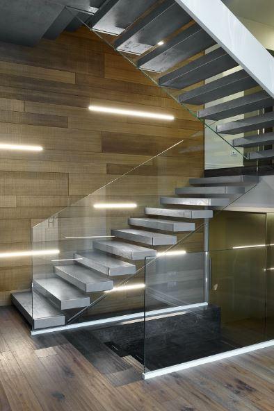 Bon Escalier Moderne En Acier Marche En Gres Cerame DEI 011