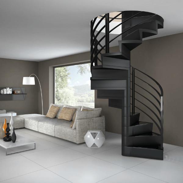 escalier moderne en colimacon marche et contremarche bois la maestria. Black Bedroom Furniture Sets. Home Design Ideas
