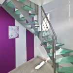 escalier 1/4 tournant acier marche verre à 57100 Thonville EC03