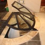 Trappe de sol en fer forgé avec verre pour cave à vin