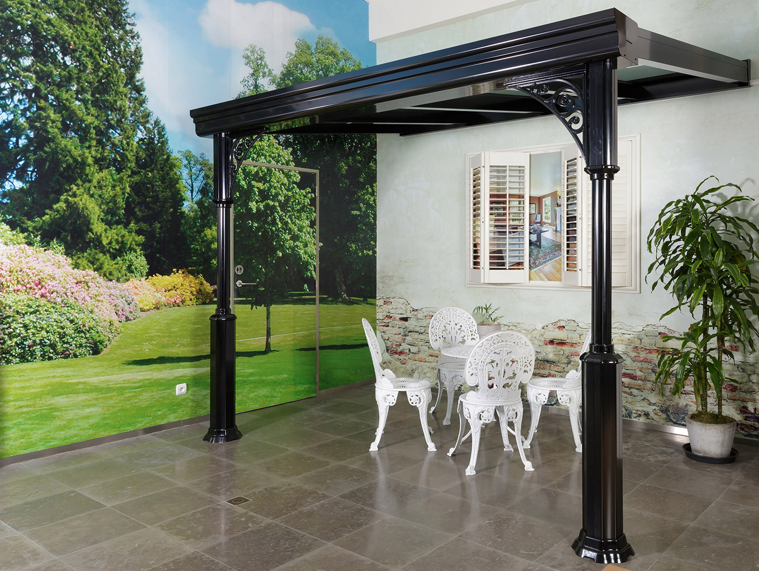 pergola de style avec toiture polycarbonate p24 la maestria. Black Bedroom Furniture Sets. Home Design Ideas