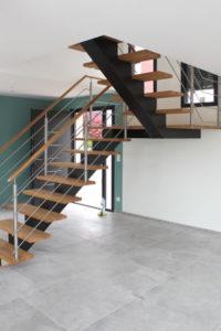 escalier quart tournant, bois et métal