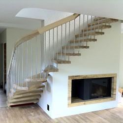 escalier bois inox