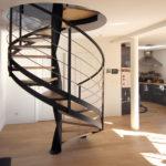 escalier hélicoïdal en acier avec marches en bois