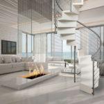 escalier colimaçon contemporain blanc