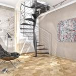 escalier colimaçon contemporain noir